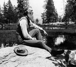 John Muir sit on his rock